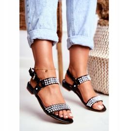 Black Women's Flat Sandals Lu Boo With Aldona Studs 1