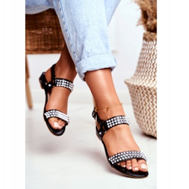 Black Women's Flat Sandals Lu Boo With Aldona Studs 2