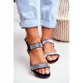 Black Women's Flat Sandals Lu Boo With Aldona Studs 3