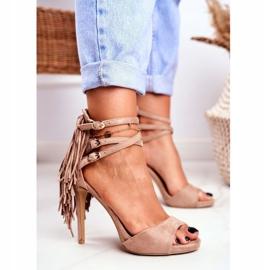 LU BOO Women's Sandals On A High Heel Gladiator Beige Carnival 1