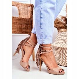 LU BOO Women's Sandals On A High Heel Gladiator Beige Carnival 2