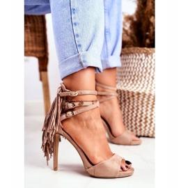 LU BOO Women's Sandals On A High Heel Gladiator Beige Carnival 4