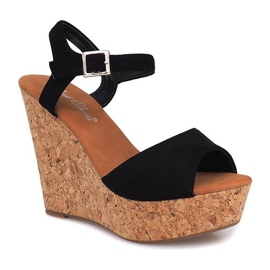 Black Sandals On Wedge Heel 5H5654 2