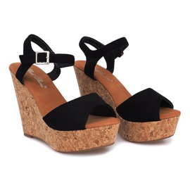 Black Sandals On Wedge Heel 5H5654 3