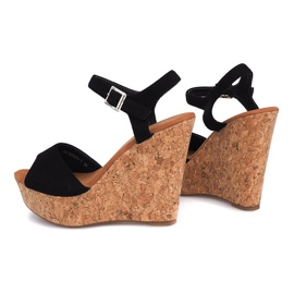 Black Sandals On Wedge Heel 5H5654 1