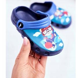 Children's Slippers Foam Crocs Navy Blue Teddy Bear Pilot SuperFly 2