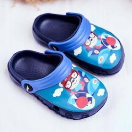 Children's Slippers Foam Crocs Navy Blue Teddy Bear Pilot SuperFly 1