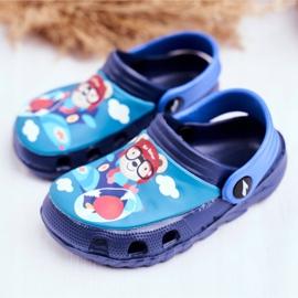 Children's Slippers Foam Crocs Navy Blue Teddy Bear Pilot SuperFly 3