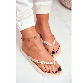 SEA Women's Slippers Flip-flops Braided Belt Beige Peggie brown 2