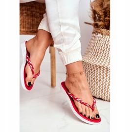 SEA Women's Slippers Flip-Flops Braided Belt Red Peggie 2