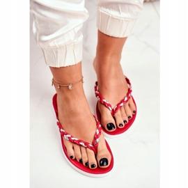 SEA Women's Slippers Flip-Flops Braided Belt Red Peggie 3