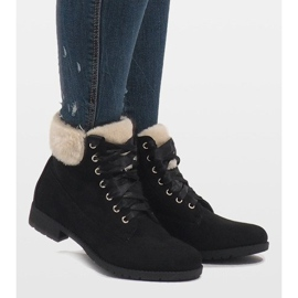 Black insulated lace-up boots C-7100 2