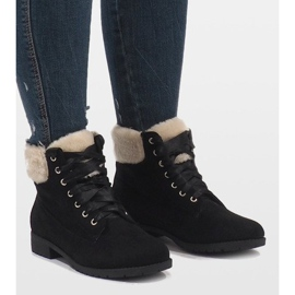 Black insulated lace-up boots C-7100 1