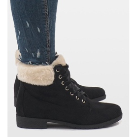 Black insulated lace-up boots C-7100 3