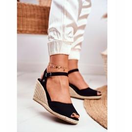Women's Sandals On A Braided Wedge Big Star Black DD274A209 1
