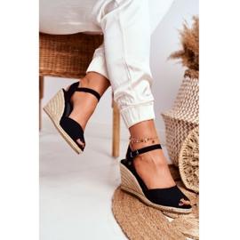 Women's Sandals On A Braided Wedge Big Star Black DD274A209 4