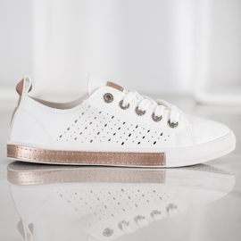 Bella Paris Sneakers With Openwork Pattern white 4