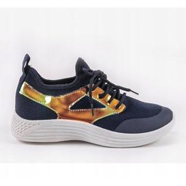 Navy blue HB-42 sports shoes golden 1