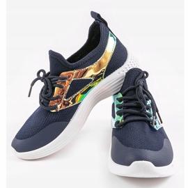 Navy blue HB-42 sports shoes golden 2