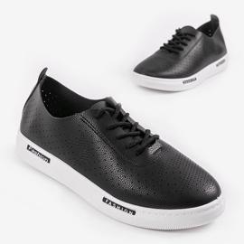 Black QW8368-1 openwork sport sneakers 1