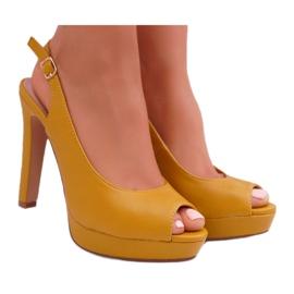 Moow Platform Heels Women's Sandals Yellow Lorajn 3