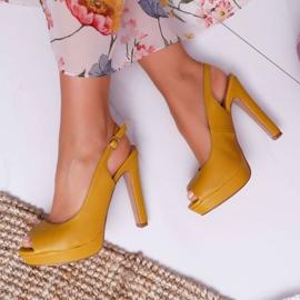 Moow Platform Heels Women's Sandals Yellow Lorajn 1