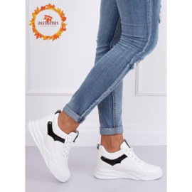 White sports shoes with wedges 85-429 WHITE / BLACK 5