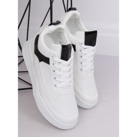 White sports shoes with wedges 85-429 WHITE / BLACK 4