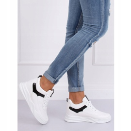 White sports shoes with wedges 85-429 WHITE / BLACK 1