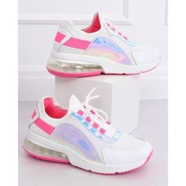 White women's sports shoes F-3336 WHITE / FUSHIA pink 5