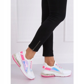 White women's sports shoes F-3336 WHITE / FUSHIA pink 2