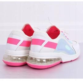 White women's sports shoes F-3336 WHITE / FUSHIA pink 4