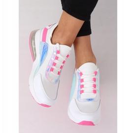 White women's sports shoes F-3336 WHITE / FUSHIA pink 3