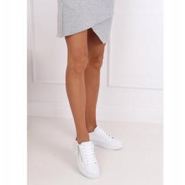 White women's sneakers KK-206 WHITE / RED 2