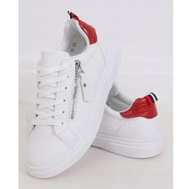 White women's sneakers KK-206 WHITE / RED 1