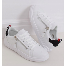 White women's sneakers KK-206 WHITE / BLACK 1