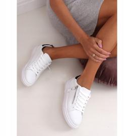 White women's sneakers KK-206 WHITE / BLACK 3