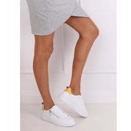White women's sneakers KK-206 WHITE / YELLOW 2