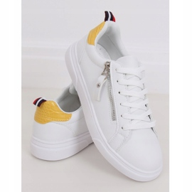 White women's sneakers KK-206 WHITE / YELLOW 1