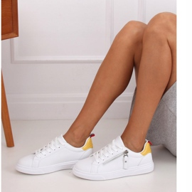 White women's sneakers KK-206 WHITE / YELLOW 3