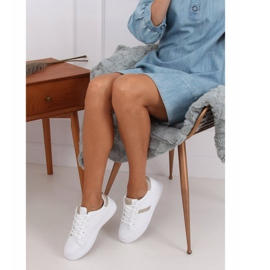 White women's sneakers C941 Gold golden 3