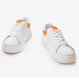 White shiny sneakers LLQ204-3 orange 1