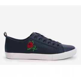 Navy blue sneakers with a flower 1727-02 1