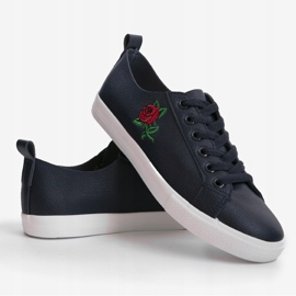 Navy blue sneakers with a flower 1727-02 4
