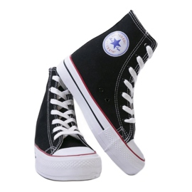Black sneakers with lace-up wedges B706-1 3