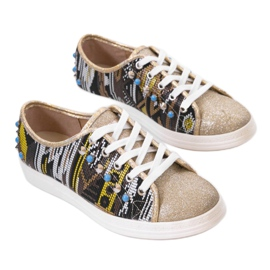 Golden sneakers richly decorated C17-3997 multicolored yellow 1