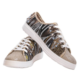 Golden sneakers richly decorated C17-3997 multicolored yellow 2