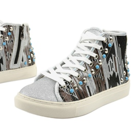 Silver high sneakers richly decorated D17-27027 grey multicolored 1