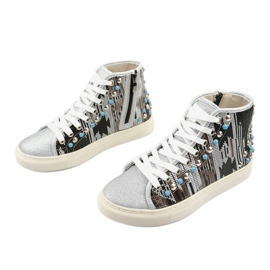 Silver high sneakers richly decorated D17-27027 grey multicolored 2