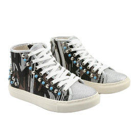 Silver high sneakers richly decorated D17-27027 grey multicolored 3
